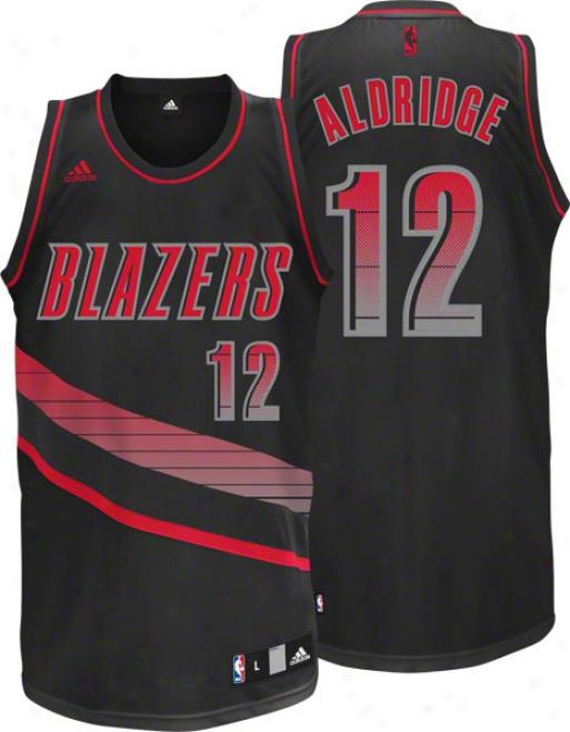 Lamarcus Aldirdge Jersey: Adids Vibe Black #12 Portland Trail Blazzers Swingman Jersey