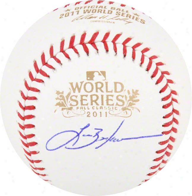 Spear Berkman Autographed Baseball  Details: St. Louis Cardinals, 2011 World Series, World Series Ball