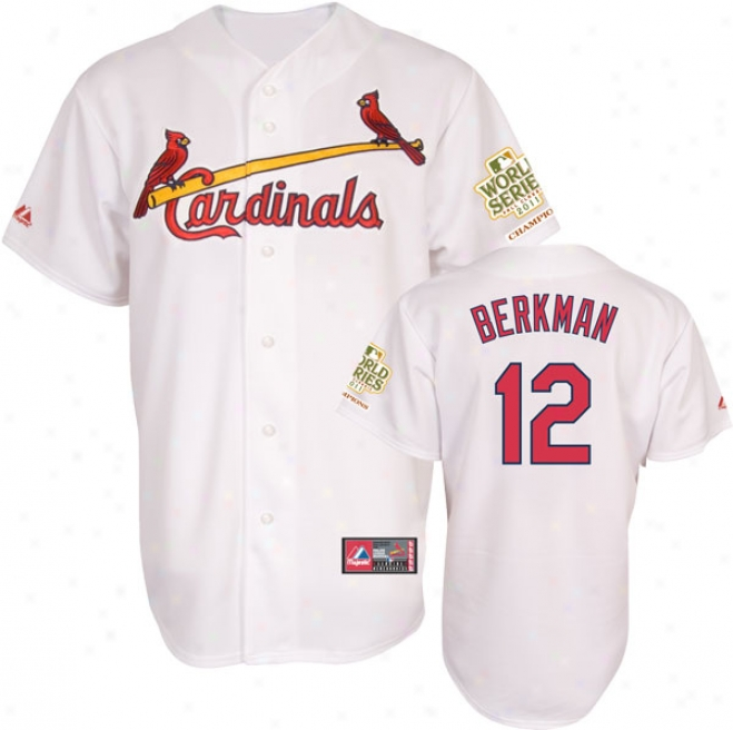 Lance Berkman Jersey: Big & Tall St. Louis Cardinals #12 Home White Replica Jersey With 2011 World Series Champions Patch