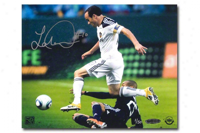 Landon Donovan Los Angeles Galsxy Autographed Leaping 8s10 Unframed Photograph