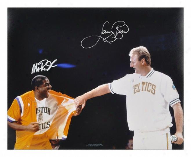 Larry Bird And Magic Johnson Dual Autographed 16x20 Bird Jersey Reirement Night Photo