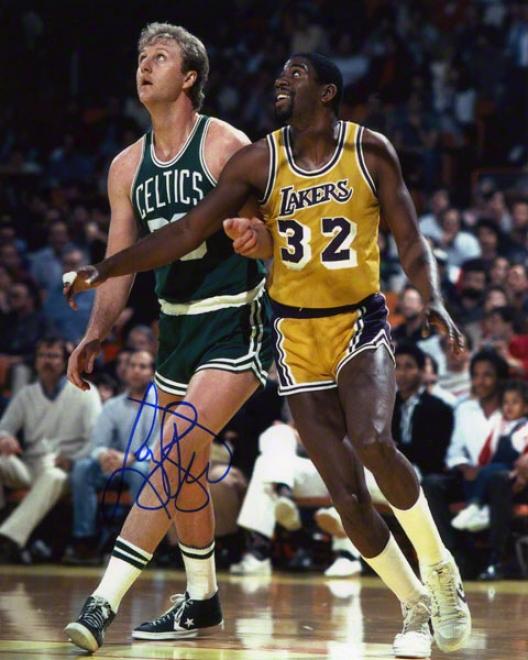 Larr6 Bird Autographed 8x10 Photograph  Details: Boston Celtics, With Magic Johnson