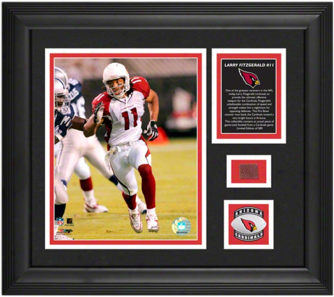 Larry Fitzgerald Arizona Cardinals Framed 8x10 Photograph With Game Used Football Piece And Medallion