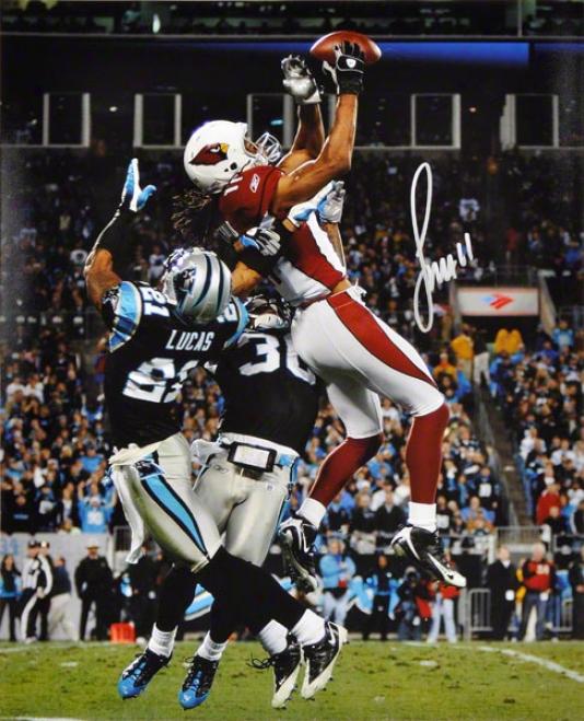 Larry Fitzgerald Autographed 16x20 Photograph  Details: Arizona Cardinalss, Leap Vs. Carolina Panthers