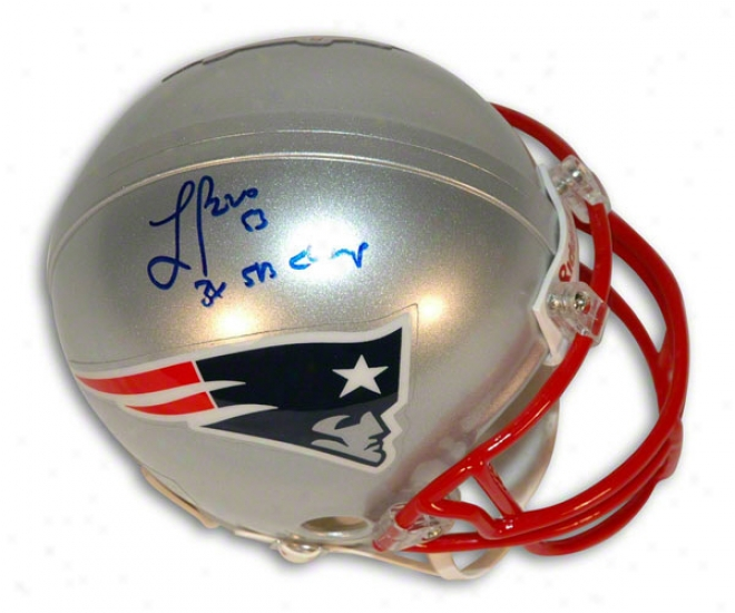 Larry Izzo Autographed Repaired England Patriots Mini Helm Inscribed &quot3x Sb Champs&quot