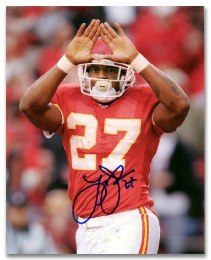 Larry Johnson Kansas City Chiefs - Rock Sign - Autographed 8x10 Photograph