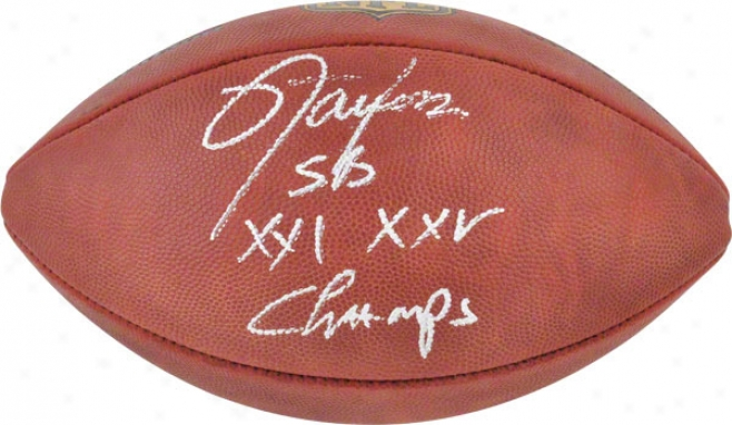 Lawrence Taylor Autographed Football  Details: New York Giants, Duke Pro Football, With &quotsb Xxi Xxv Champs&quot Inscriptioh