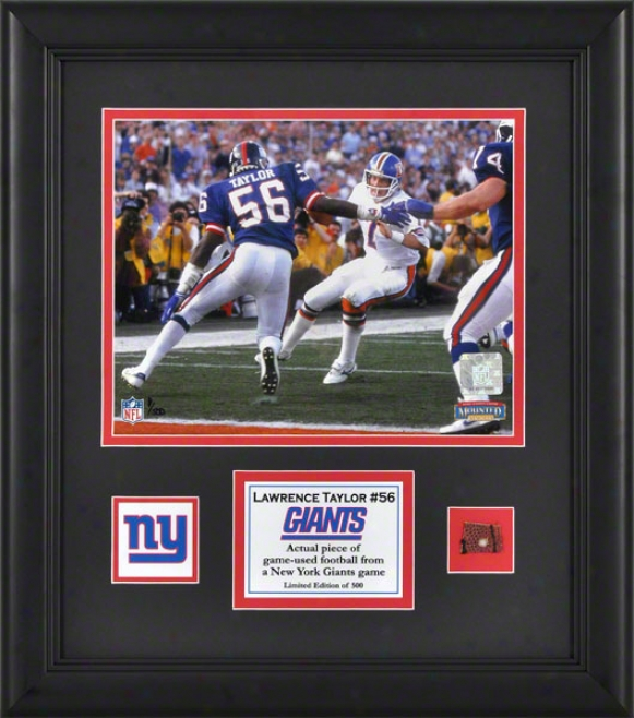 Lawrence Taylor Framed 8x10 Photograph  Details: New York Giants, With Game Used Football Piece And Dwscriptive Plate