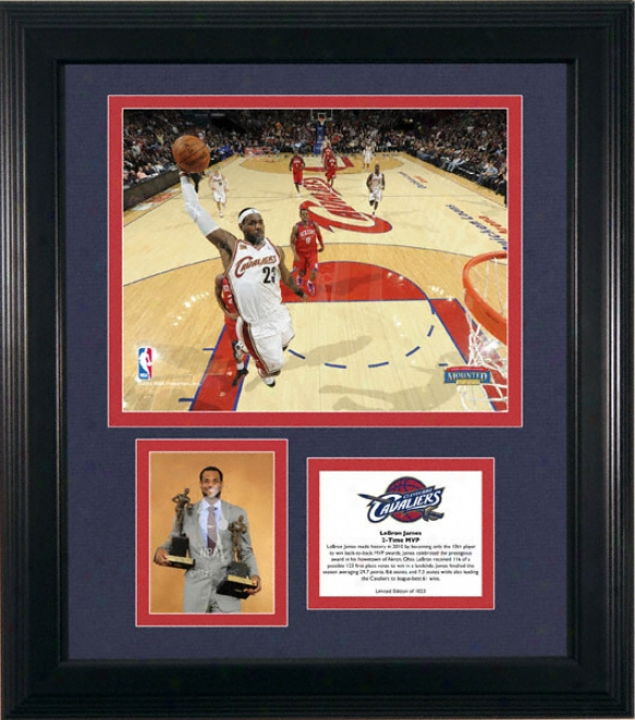 Le Bron James Clevelane Cavaliers 2x Nba Mvp Framed Photographs With Plate - L.e. Of 1023
