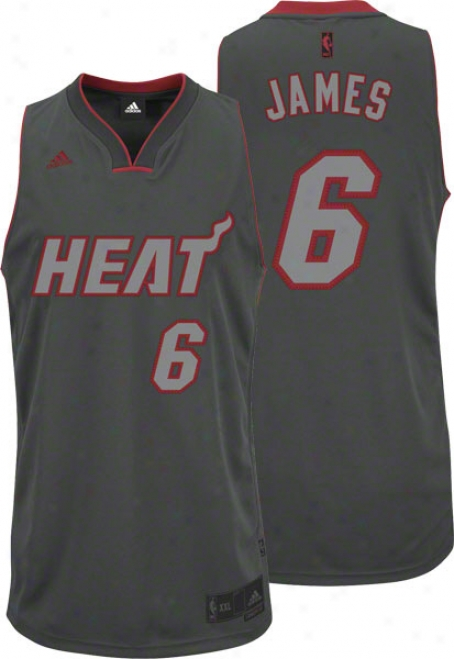 Lebron James Adidas Graystone Miami Heat Swingman Jersey