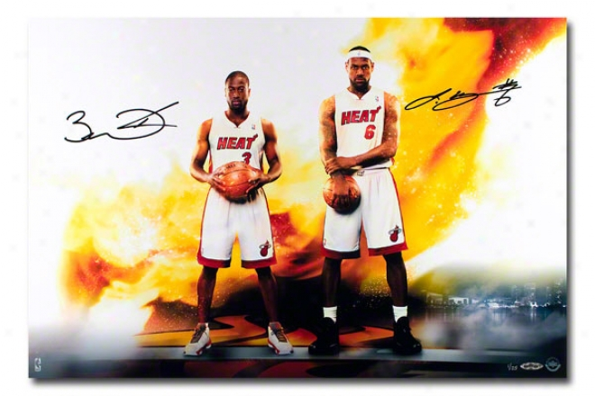 Lebron James And Dwyane Wade Miami Heat Unframed Dual Autographed Next Level 16&quotx24&quot Photograph
