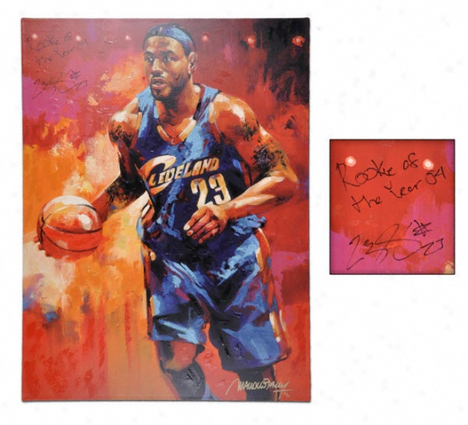 Lebron James Cleveland Cavaliers Autographed 30x40 Giclee - By Malcolm Farley