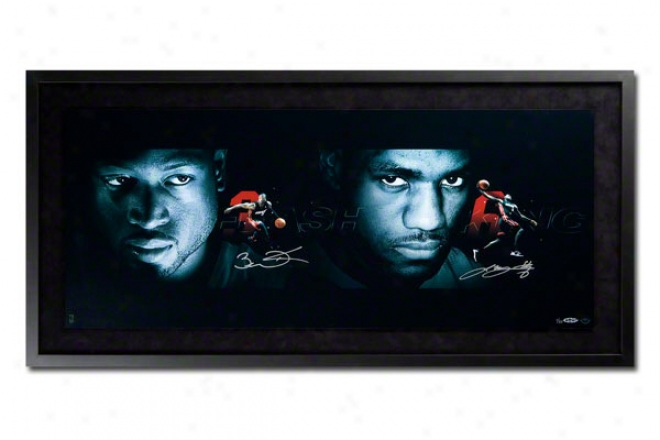 Lebron James & Dwyane Wade Miami Heat Framed Dual Autographed The Watchers 36x18 Photogfaph Collage
