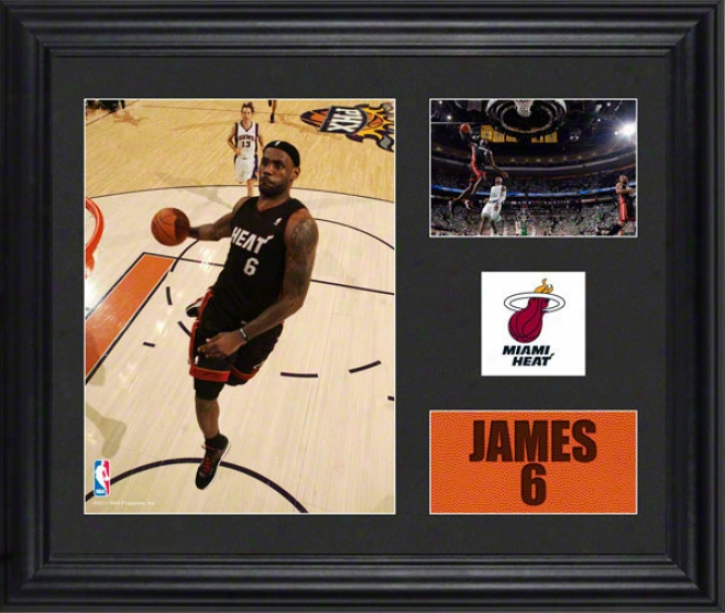 Lebron Jamees Framed 2- Photograph Collage  Particulars: Miami Heat Team Logo