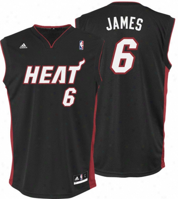 Lebron James Jersey: Adidas Revolution 30 Black Replica #6 Miami Heat Jersey
