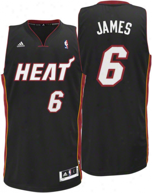 Lebron James Jersey: Adidas Revolution 30 Black Swingman #6 Miami Heat Jersey
