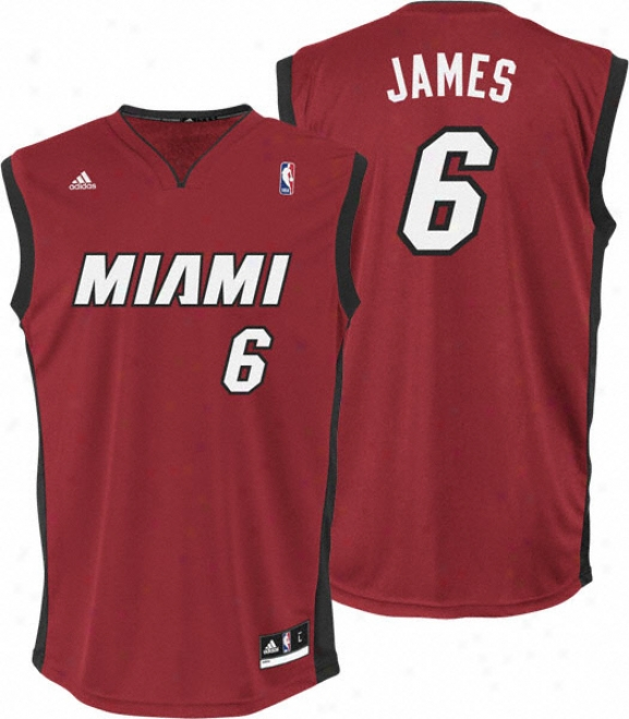 Lebron James Jersey: Adidas Revolution 30 Red Replica #6 Miami Heat Jersey