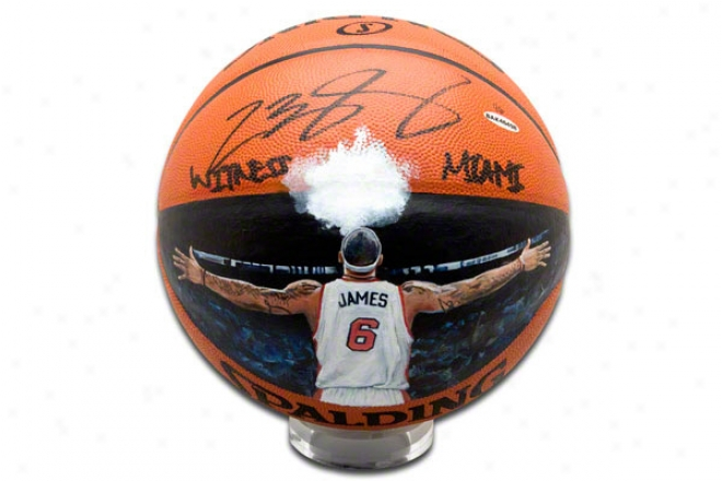 Lebron James Miami Heat Autographed And Insribed Witness Miami Handiwork Painted Basketball
