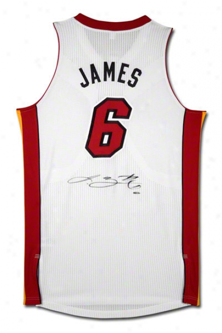Lebron James Miami Heat Autographed Authentic Ree6ok White Home Jersey