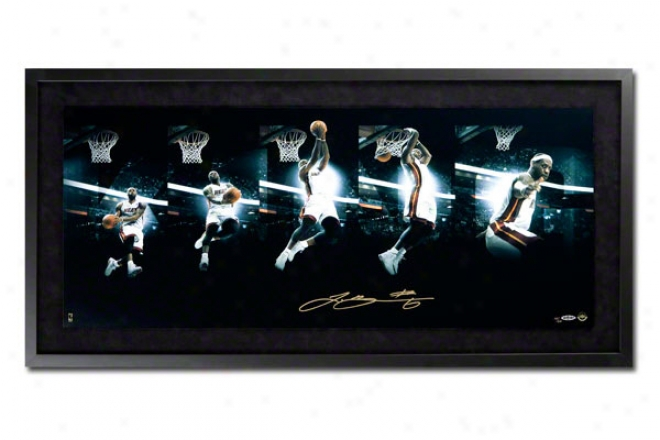 Lebron James Miami Heat Framed Autographed Cunning Of The Dunk Sequence 36x18 Photograph