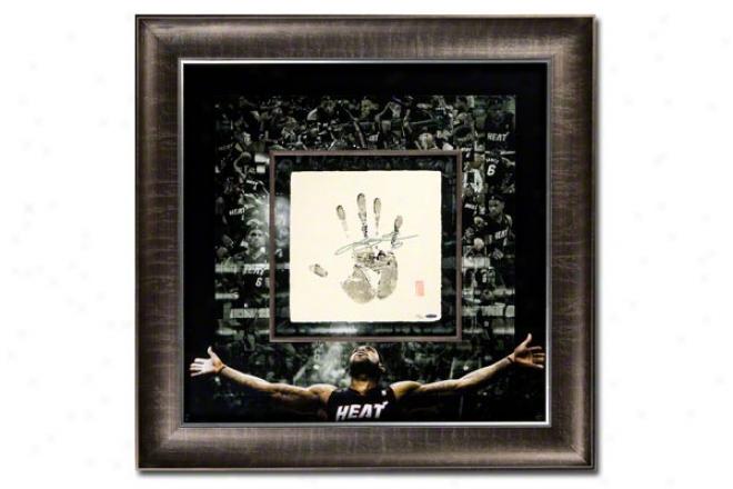 Lebron James Miami Heat Framed Autographed Tegata Mosaic