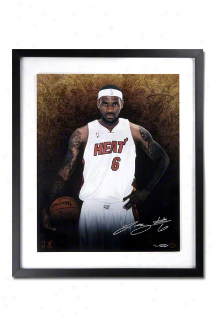 Lebron James Miami Heat Framed Autograpued Welcome To Miami 16x20 Photograph