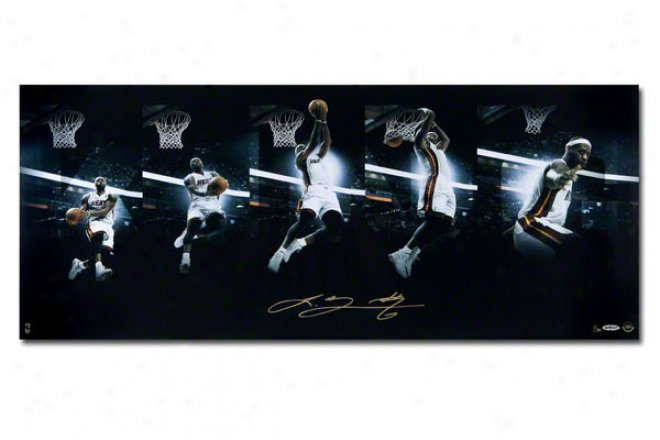 Lebron James Miami Heat Unframed Autographed Art Of The Dunk Sequence 36x18 Photigraph