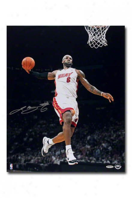 Lebron Jajes Miami Excitement Unframed Autographed Tomahawk Jam 16x20 Photograph