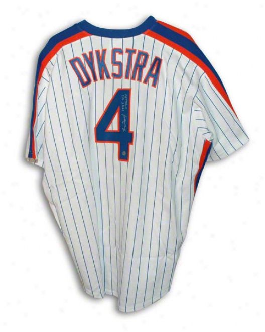 Lenny Dykstra Autographed New York Mets White Pinstripe Majestic Jersey Inscribed &quot1986 Ws Champs&quot