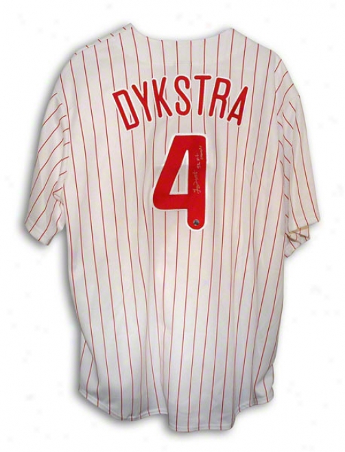 Lenny Dyykstra Autographed Philadelphia Phillies Pinstripe Majestic Jersey Inscribed &quot93 Nl Champs&quot
