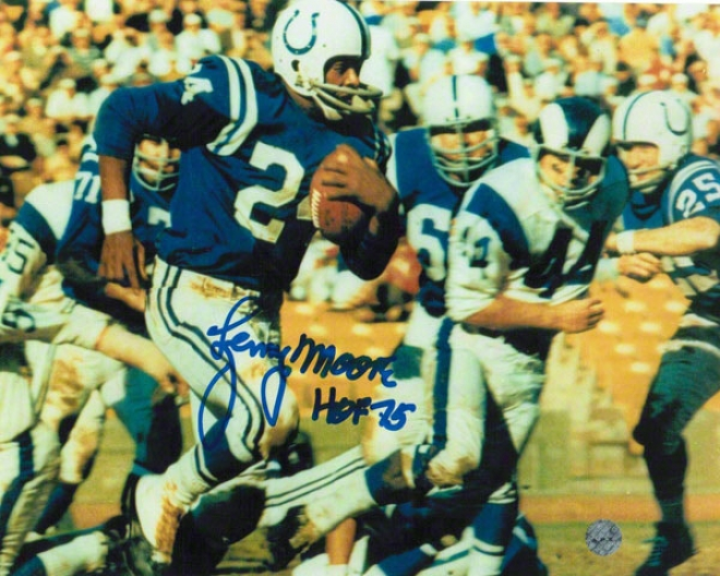 Lenny Moore Baltimore Colts Autographed 8x10 Photo Vs Rams Inscribed Hof 75