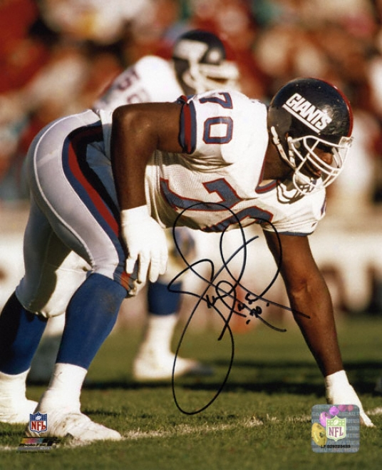 Leonard Marshall New York Giants - 3 Poitn Stance - Autographed 8x10 Photograph