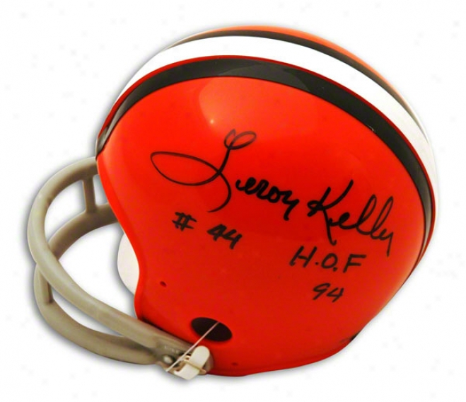 Leroy Kelly Autographed Cleveland Browns Mini Helmet Inscribedd Hof 94