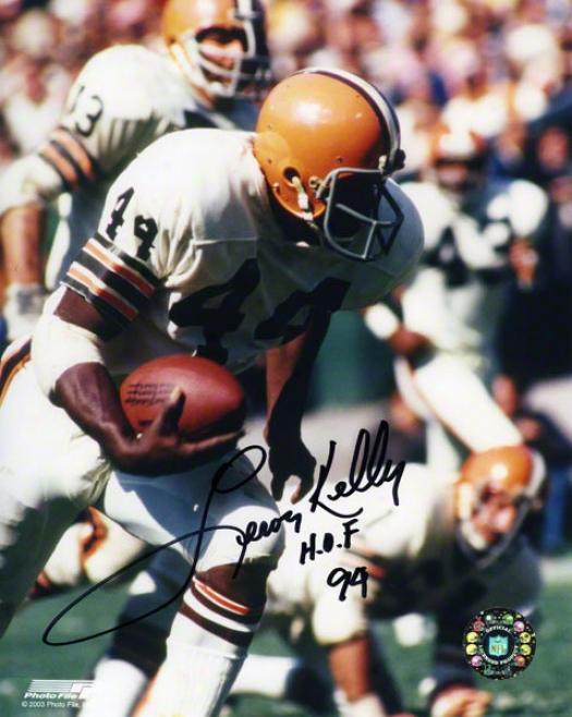 Leroy Kelly Autographed Photograph  Details: Cleveland Browns, 8x10, Hof'94 Inscription