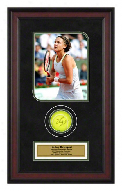 Lindsay Davenport 2005 French Open Framed Autographed Tennis Ball With Photo