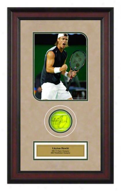 Lleyton Hewitt Australian Open Frame Autographed Tennis Ball With Photo