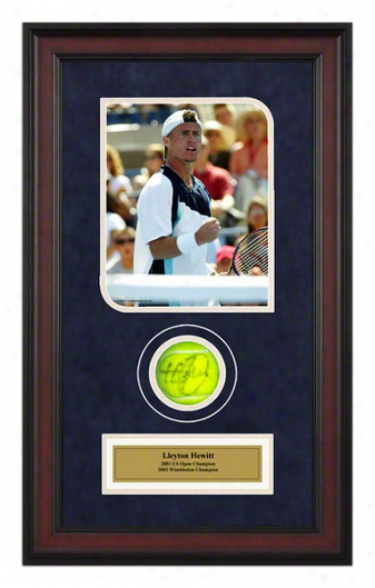 Lleyton Hewitt Us Open Framed Autographed Tennis Ball With Photo