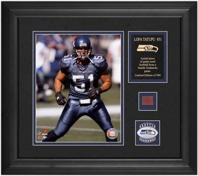 Lofa Tatupu Seattle Seahawks Framed 8x10 Photograph With Game Used 2005 Football Piece And Medallion