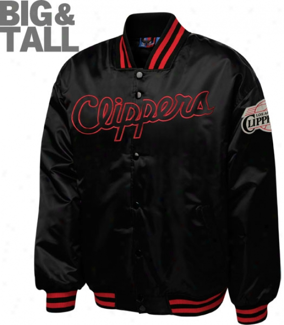 Los Angeles Clippers Big & Tall Black On Black Satin Jacket