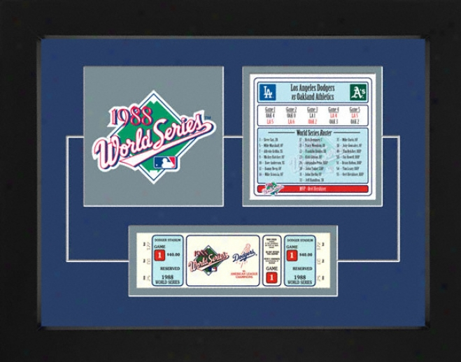 Los Angeles Dodgers 1988 World Series Replica Ticket & Patch Frame