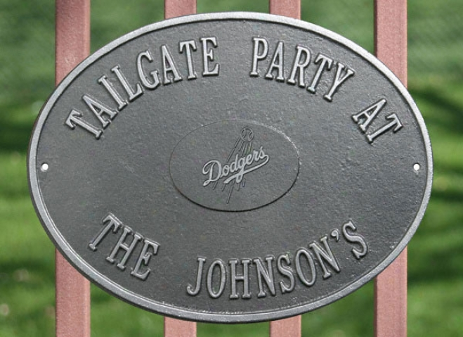 Los Angeles Dodgers Pewter And Silver Personalized Indoor/outdoor Flat plate of metal