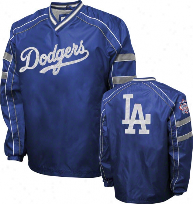 Los Angeles Dodgers Royal V-neck Pullover Jacket