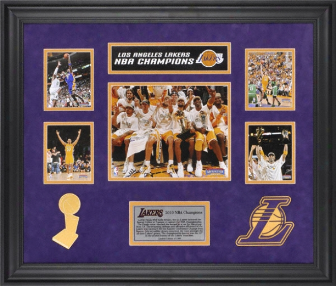 Los Angelds Lakers 2010 Nba Championship Framed 5-photograph Collage With Logo - Limited Editon Of 1000