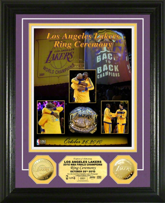 Los Angeles Lakers 2010 Ring Ceeremony 24 Kt Gold Coin Photo Mint