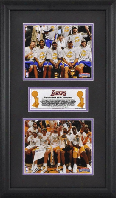 Los Angeles Lakers - Back To Back Nba Champions - Framed 8x10 Photographs With Descriptive Plate - L E Of 1000