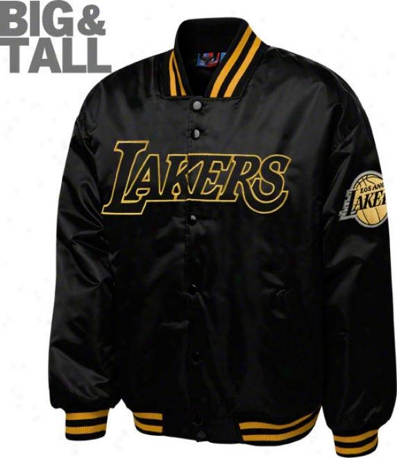 Los Angeles Lakers Big & Tall Black On Bkack Satin Jacket