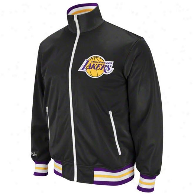 Los Angeles Lakers Black Mitchell & Ness Preseason Warmup Track Jacket
