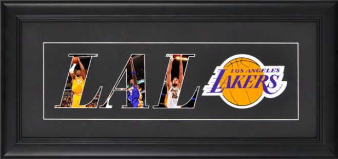 Los Angeles Lakers Framed 10x20 Black Matte Logo Art Collage