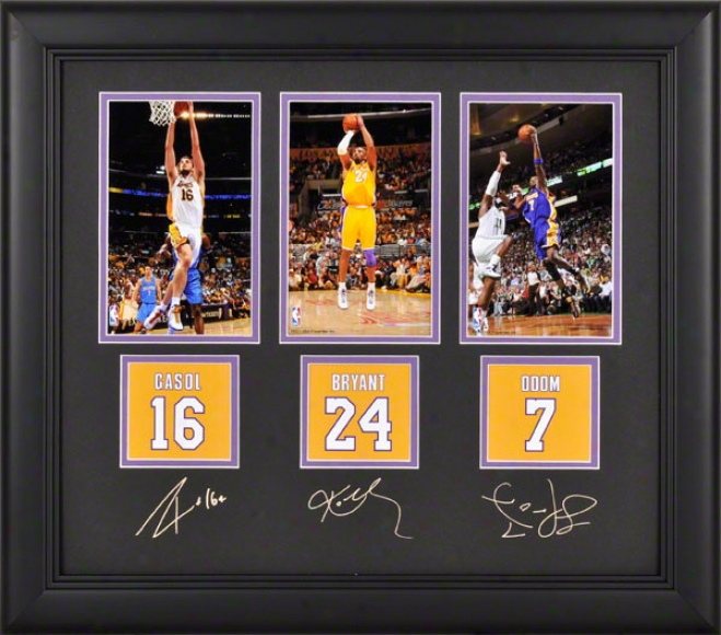 Los Angeles Lakers Framed Photograpys  Details: Kobe Bryant, Pau Gasol, Lamar Odom, 4x6, Facsimile Signatures, Jersey Number Replica Miniatures