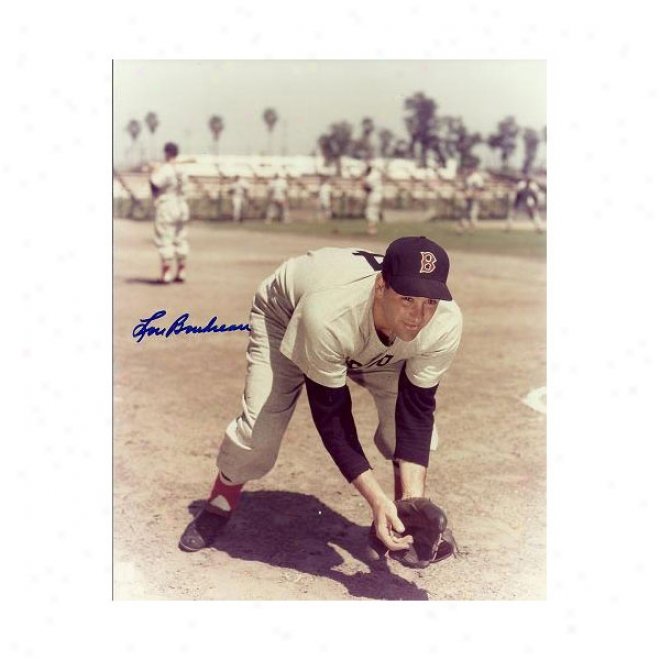 Lou Boudreau Autographed Boston Red Sox 8x10 Photo Hall Of Famer